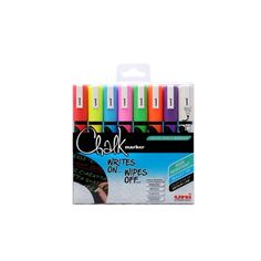 uni Chalk 8 Pack Assorted Chalk Markers uni Chalk liquid chalk marker pens are made in Japan and have a 1 - 2 bullet nib They are Liquid Chalk Markers, Chalkboard Labels, Marker Pen, Ciabatta, Ink Color, Vibrant Colors, Packing, Cap, Writing