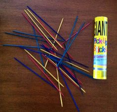 Feelings Pick-Up-Sticks is played by assigning a feeling to each color. Each time a stick is removed you share an experience you've had with that feeling.