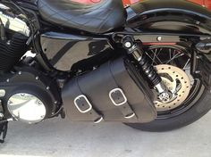 "Dead Creek Cycles ""Bobber Bag"" Leather Solo Swingarm Bag for Harley Sportster - order with the Bobber Bracket Hard Mount Kit."