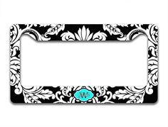 Monogrammed custom license plate frame - Black and white damask with aqua blue - monogram car tag frame To Gild The Lily http://www.amazon.com/dp/B00L3UQA46/ref=cm_sw_r_pi_dp_-dIVtb039DW6MNMV