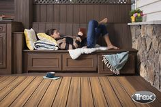 Add style and utility to your deck with Trex Outdoor Storage. Install beautiful cabinets, boxes, and bench storage for practical & polished solutions. Deck Storage, Outdoor Storage, Storage Boxes, Relaxing Pictures, Composite Decking, Trex Decking, House Deck, Diy Deck, Decks And Porches
