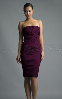 Casual Sheath Knee-length Strapless Purple Satin Dress