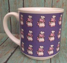 Sandra Boynton Hogs And Quiches Mug Coffee Cup Cartoon Pink Pig Chef Purple   | eBay