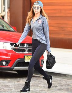 Up bright and early: The model was seen heading to the gym for a rigorous workout earlier in the morning