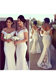 Lace Bridesmaid Dress,Long Bridesmaid Gown,Off The Shoulder Bridesmaid Gowns,Mermaid Bridesmaid Dresses,White Bridesmaid Bridesmaid Dress Mermaid Bridesmaid Dresses, Lace Bridesmaid Dresses, Mermaid Dresses, Wedding Party Dresses, Lace Mermaid, Prom Gowns, Evening Dresses, Mermaid Wedding, Mermaid Style