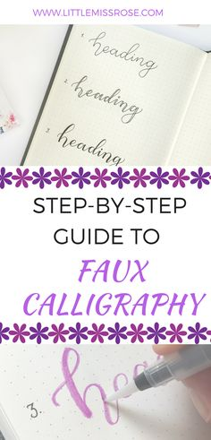Can't use a brush pen to save yourself? Here is a step-by-step guide to faux calligraphy that I used before I learnt the skill of brush-lettering. This article shows you how you can create faux calligraphy in your bullet journal to create fabulous headings www.littlemissrose.com #bulletjournal #bulletjournalhacks #brushlettering #fauxcalligraphy