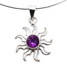 Amethyst Purple Sun Necklace