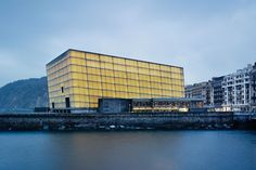 Kursaal, the multibuilding convention center and auditorium designed by Moneo, looms over the mouth of the Urumea River in San Sebastián, Spain.