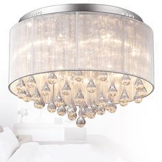 Fabric ceiling lights - basic lighting in its coziest form 2019 Modern Fashion Fabric Ceiling Light Chandelier Light Crystle Pendant Lighting Bedroom, Chandelier In Living Room, Diy Chandelier, Pendant Lamp, Crystal Ceiling Light, Flush Ceiling Lights, Ceiling Lamps, Fabric Ceiling, Large Crystals