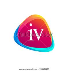 Letter IV logo in triangle shape and colorful background, letter combination logo design for company identity.