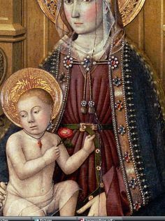 Jaume Huguet, Circa 1450,Virgin and Child, detail of belt