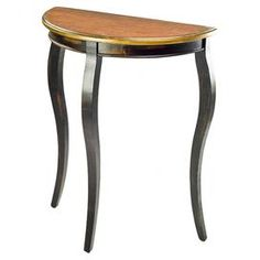 """Place a bouquet of fresh blooms or your latest read on this fir wood demilune console table, showcasing curving legs and a cherry and black finish.    Product: End tableConstruction Material: Fir woodColor: Cherry and blackFeatures: Curved legsDemilune designDimensions: 30"""" H x 26"""" W x 12"""" D Assembly: Assembly required"""