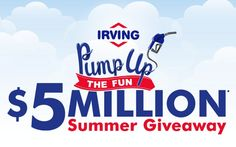 Pump Up The Fun with Irving and their Summer Giveaway! Here, you could win up to $100000 cash prize and millions of instant win prizes.  #Sweepstakes #Instantwin #Big