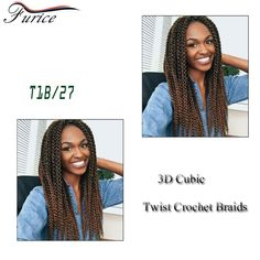 Fashion 3D Cubic Twist Ombre Braiding Hair Crochet Hair Extensions 3D Cubic Twist Crochet Braids Top Quality Synthetic Hairstyle