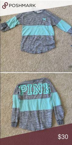 Victoria's Secret PINK Sweatshirt Victoria's Secret PINK teal and gray sweatshirt. Barely worn and in good condition PINK Victoria's Secret Tops Sweatshirts & Hoodies