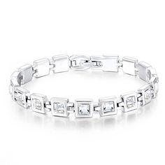 "Women Tennis Bracelet Swarovski Elements Crystal Jewelry for Wedding Anniversary Birthday Gifts, 7.5"" (White)"