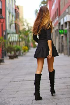 I'm always into little black dresses with sleeves and over the knee boots. Love