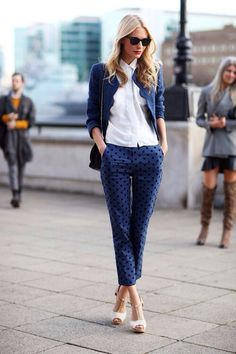 #blue #outfit #dots - Poppy Delevigne