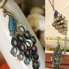 Women Vintage Alloy Rhinestone Peacock Pendant Long Chain Charm Necklace