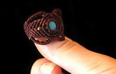 """Macrame Turkenite Ring """"Tree"""", micro macrame ring, turkenite ring, macrame ring"""