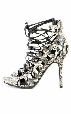 Wild Diva Adele-67 Strappy Snake Gladiator Heels