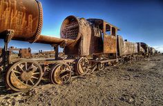 Uyuni, Bolivia, is best known as a transportation hub, an oasis in a little-populated landscape and a tourist gateway for visitors to the nearby salt flats. It is also famous for its extensive train cemetery featuring deserted trains of times past.