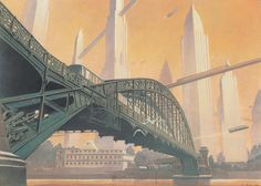 François Schuiten - 'The Austerlitz Viaduct', ink, acrylic and colored pencils.