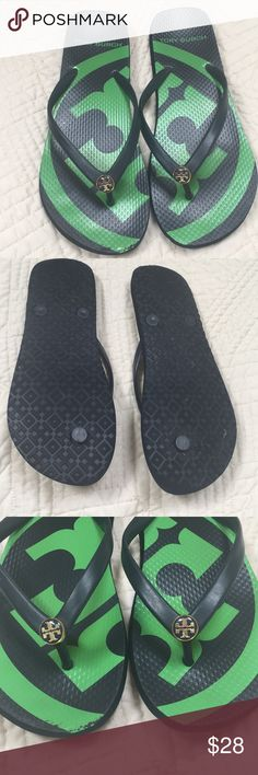 Tory Burch rubber flip flops Navy green pattern. Navy ceramic Tory Burch button. Worn a few times Tory Burch Shoes Sandals