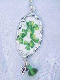 Broken China Jewelry Shamrock Necklace by Robinsnestcreation1, $38.95