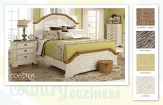 "A little country living with a cozy bedroom retreat. ""Oleta Bedroom Collection"" Earthy finish is natural and offers an array of color decorating options."