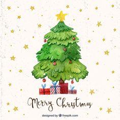 Fondo de estrellas de árbol de navidad de acuarela...