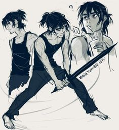 and suddenly boys with ponytails got like 10 times more appealing to me some older! training Nico with a ponytail because I saw this post? Percy Jackson Fan Art, Percy Jackson Books, Percy Jackson Fandom, Viria, Ponytail Drawing, Haikyuu, Solangelo, Rick Riordan Books, Heroes Of Olympus