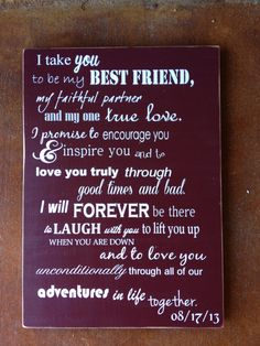 I Take You To Be My Best Friend Wedding Sign by FussyMussyDesigns Wedding Vows To Husband, Best Friend Wedding, Wedding Wishes, Wedding Signs, Wedding Ceremony, Our Wedding, Dream Wedding, Wedding Quotes, Trendy Wedding