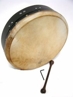 """Bodhran, 14""""x3.5"""", Tune, Black, Single by Roosebeck. $64.52. Single removable bar. Bolt tuning is hidden on the inside of the frame. Goatskin, mulberry wood painted black. Includes a tipper and a tuning wrench.. Save 15% Off!"""