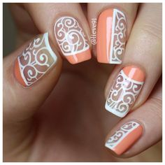 Peach and White Negative Space Nails. Lace Inspired Nail Art.