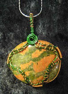 Unakite gemstone pendant