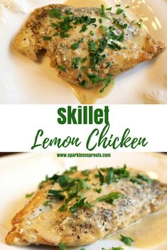 Skillet Lemon Chicken is the perfect summer dinner.  It is all made in one skillet and ready in less than 45 minutes...trust me this is a MUST MAKE! . #lemon #chicken #dinner #recipe #summer #sparklesnsprouts