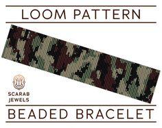 Camouflage Print Pattern Loom Beading Bracelet by ScarabJewels Loom Patterns, Beading Patterns, Stitch Patterns, Print Patterns, Beading Tutorials, Seed Bead Bracelets, Seed Bead Jewelry, Loom Bracelets, Beaded Bracelet Patterns