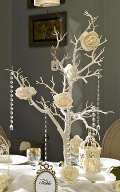 White wishing tree table centre