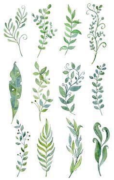 Buy 3 for 8 USD Handpainted watercolor floral leaves by NaliaArt