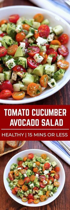 This tomato, cucumber, avocado salad is an easy, healthy, flavorful salad. It�s crunchy, fresh and simple to make. It�s a family favorite and ready in less than 15 minutes. #veggiesalad, #avocado #healthysalad