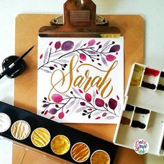 To Sarah (Magsanoc) I hope you are having a fine evening Thank you for always supporting me all these years #calligrafikas #brushlettering #watercolor #calligrafikasnames Paper: Canson 200gsm Paint: Winsor & Newton Artists watercolors & Finetec Arabic gold Brush: Silver Brush Black Velvet round no 4