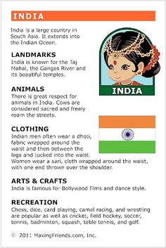 India Fact Card for your Girl Scout World Thinking Day or International celebration. Free printable available at MakingFriends.com. Fits perfectly in the World Thinking Passport, also available at MakingFriends.com
