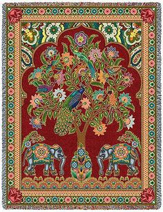 70x53 INDIA Tree of Life Peacock Elephant Floral Tapestry Afghan Throw Blanket