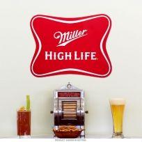 Miller High Life Beer Embossed Logo Die Cut Tin Sign