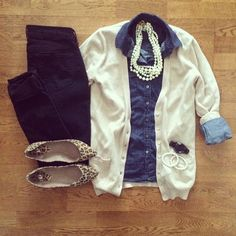 Chambray shirt, white cardigan, jeans and leopard print flats