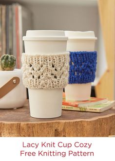 Lacy Knit Cup Cozy Free Pattern Red Heart Yarns