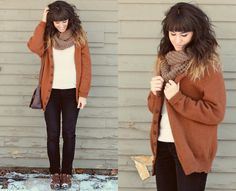 """""""Time to Get Cozy"""" by Tonya S. on LOOKBOOK.nu Love...looks super comfy and the scarf is awesome!"""