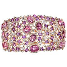 Pink Spinel Purple Sapphire Diamond Bangle