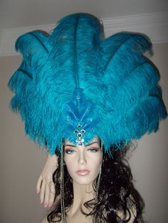 Items similar to Beautiful Rhinestone Feather Vegas Showgirl Headpiece Hat Halloween Costume Samba Headdress Carnival Parade Amazing One of a Kind! Costume Hats, Costume Dress, Dance Costumes, Showgirl Costume, Vegas Showgirl, Diy Carnival, Carnival Outfits, Rio Carnival Costumes, Carnival Fashion